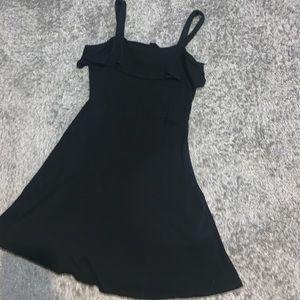 Little black ribbed flowy dress